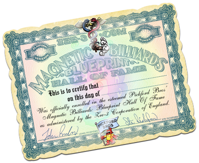 Sample Hall of Fame certificate