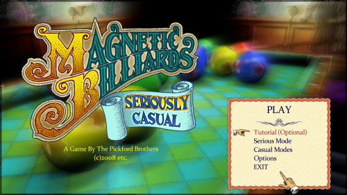 Magnetic Billiards Title Screen